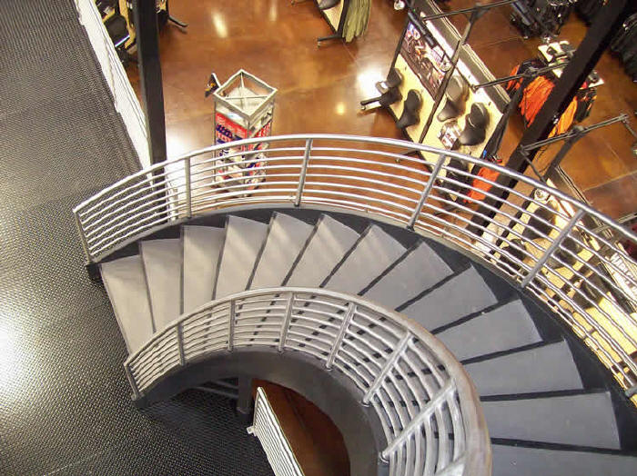 Custom Fabricated Multi Level Sweeping Curved Staircase For Retail  Installation In Syracuse, NY Harley Davidson Dealer